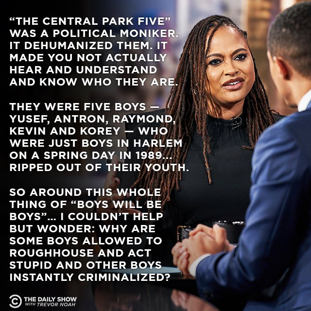".@Ava on her new series @WhenTheySeeUs and why she avoided naming it ""The Central Park Five."" Full interview: https://on.cc.com/2QgAo1N"