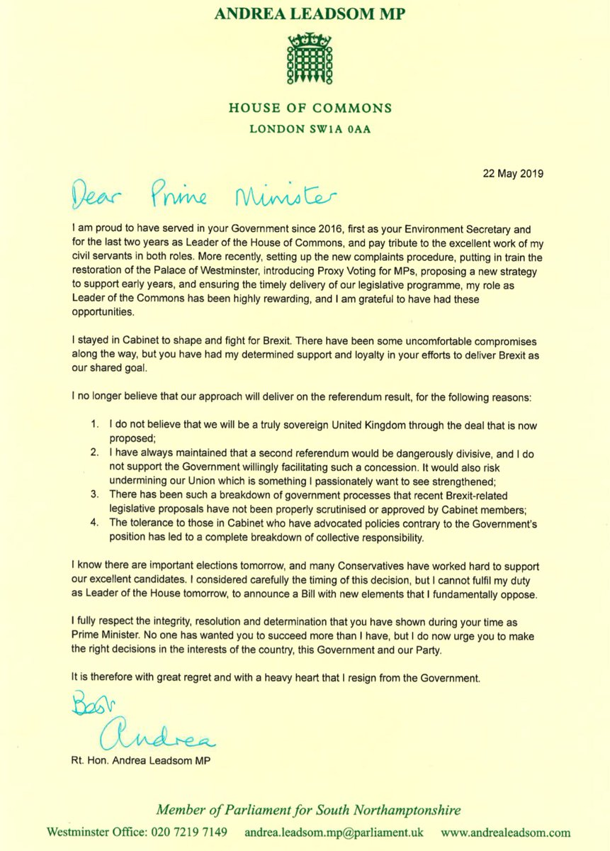 """""""I no longer believe that our approach will deliver on the referendum result""""  Andrea Leadsom's letter to the UK prime minister as she quits her cabinet role over #Brexit  http://bbc.in/2HMxii8"""