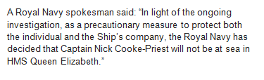 BREAKING: Commodore Nick Cooke-Priest removed from HMS Queen Elizabeth in light of probe over official car misuse. He had been due to captain ship down from Rosyth to Portsmouth this week before being reassigned. Navy say move is to protect him & ships company. Full statement: