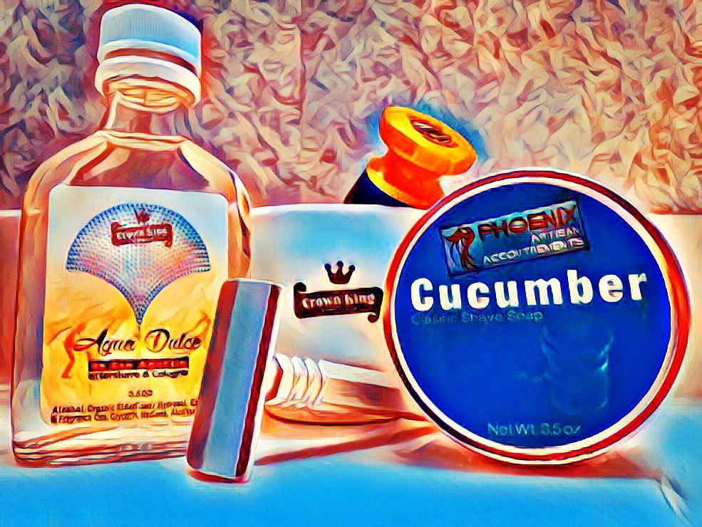 """#WhimsicalWednesday #NewToMe #PremiereSOTD with """"Cucumber"""" Shaving Soap & """"Aqua Dulce"""" Aftershave; Ceramic Scuttle; & Green Ray synthetic brush all by Phoenix Shaving @Phoenix_Shaving  ~ SE Razor by Mongoose #WetShaving"""