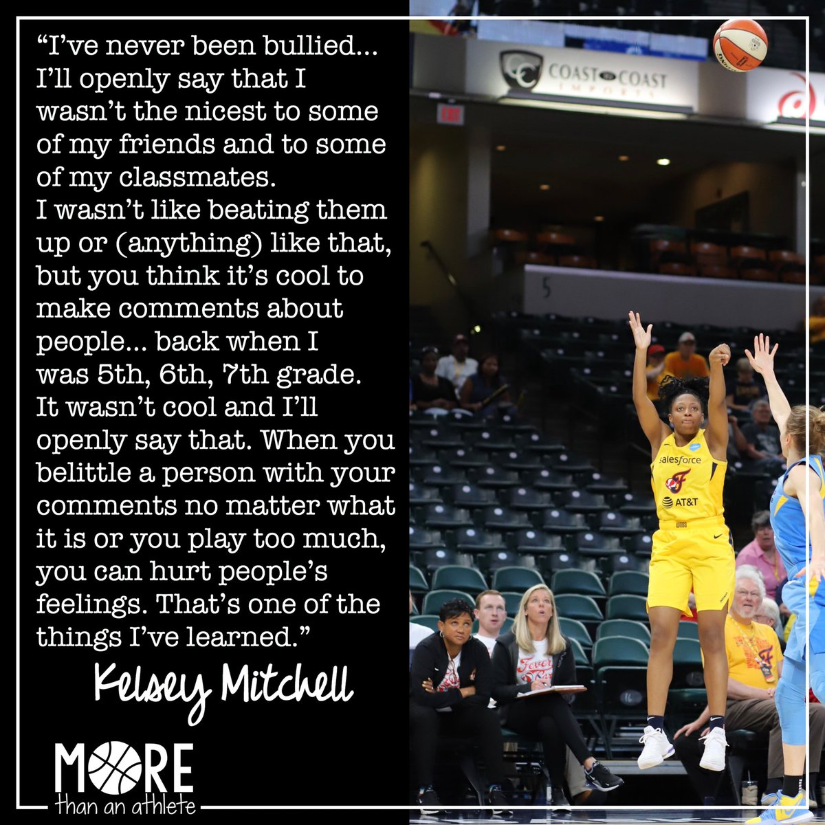 I love this honest and vulnerable answer from @kelz_hoop. It's really hard to self-admit our mistakes and learn from them. 💜 . #wnba #kelseymitchell #indianafever #fever20