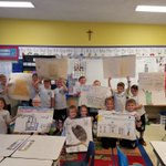 Image for the Tweet beginning: 1st graders created posters about
