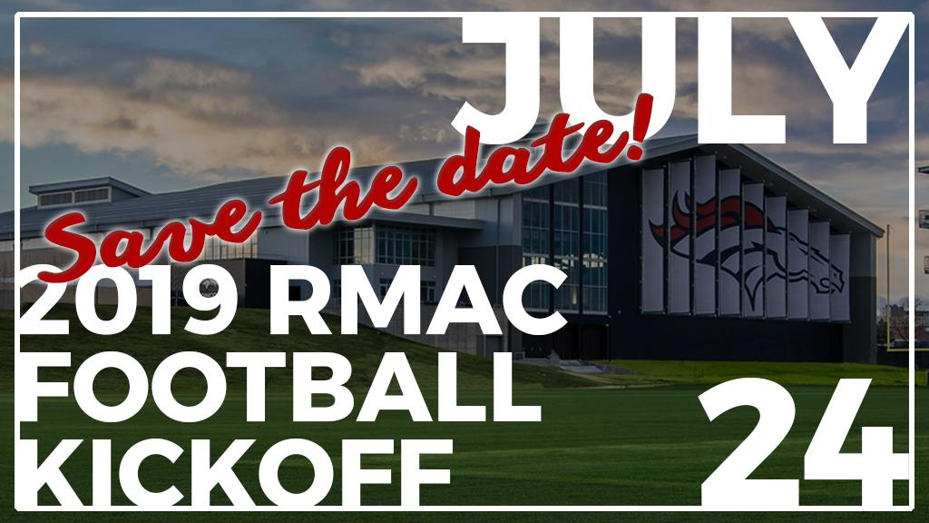 #RMACfb FANS!  We have an exciting announcement to make...  The 2019 RMAC Football Kickoff Media Day will be held at the @Broncos UCHealth Training Center on Wednesday, July 24!   Mark your calendars More information coming soon!  <br>http://pic.twitter.com/sWdXOaNOKm
