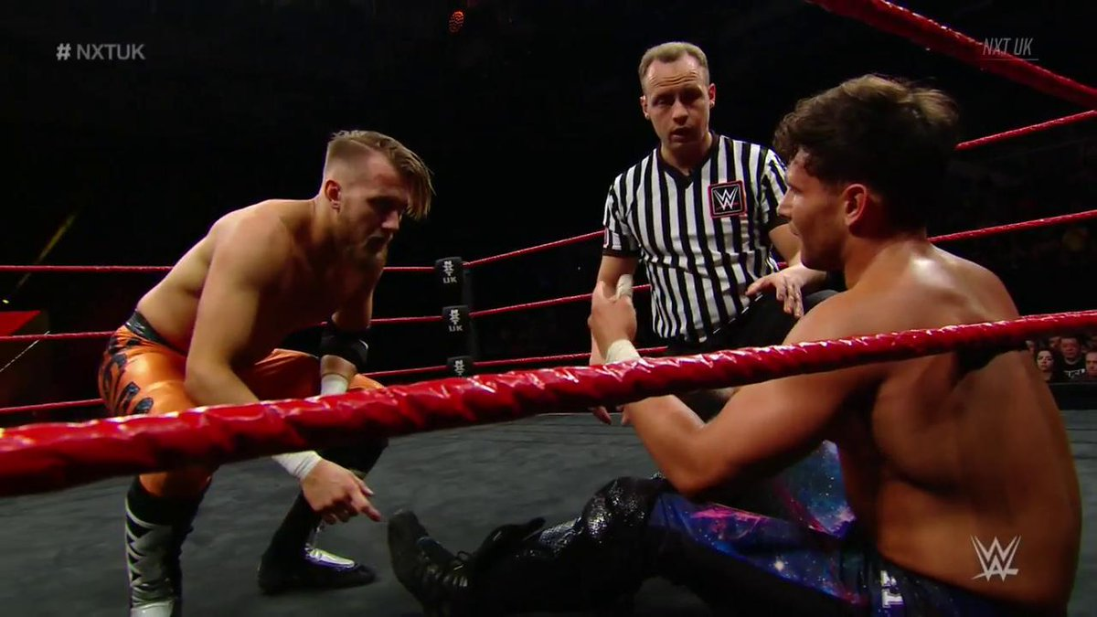 Uh-oh. Is @NoamDar unable to compete again? #NXTUK