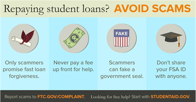 Wish your student loan debt could magically go away? If a company contacts you offering loan consolidation or assistance with repayment, it might be too good to be true. Review the @usedgov blog on how to spot a student loan scammers here: https://blog.ed.gov/2019/01/3-ways-to-spot-a-scam/…