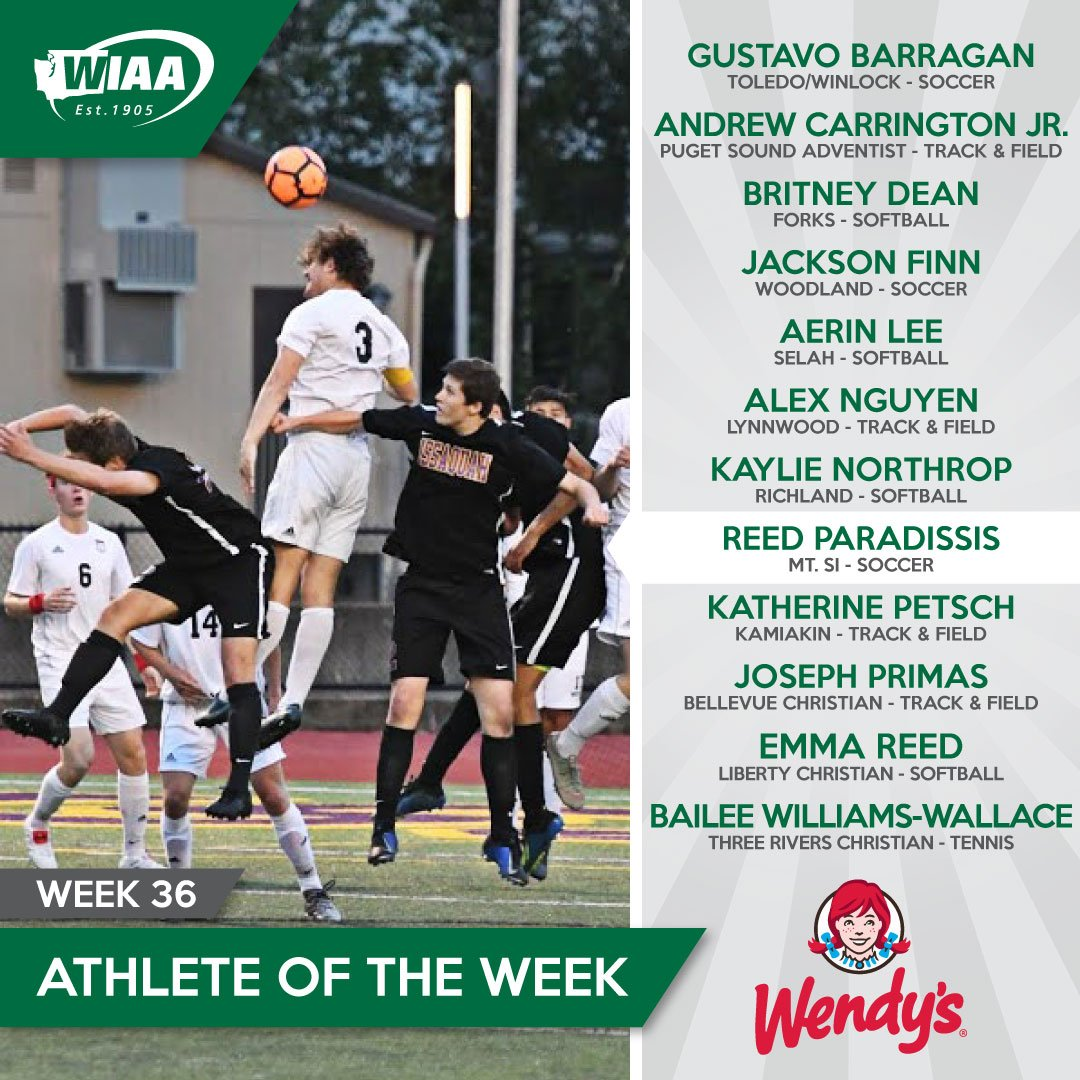 WIAA/@Wendys Athlete of the Week: WEEK 3⃣6⃣ winners announced!  DETAILS:  http://wiaa.com/athleteoftheweek …  #AOTW #soccer #softball #tennis #trackandfield #wapride #Wendys