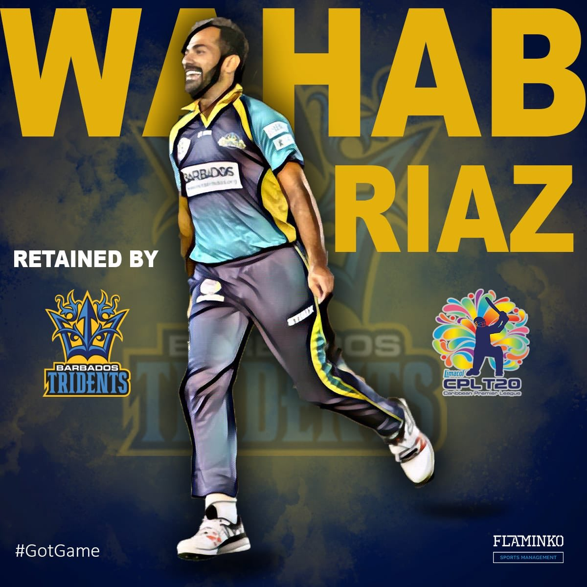 Our champ @WahabViki has been retained by @BIMTridents for the upcoming season of @CPL 🥳#GotGame