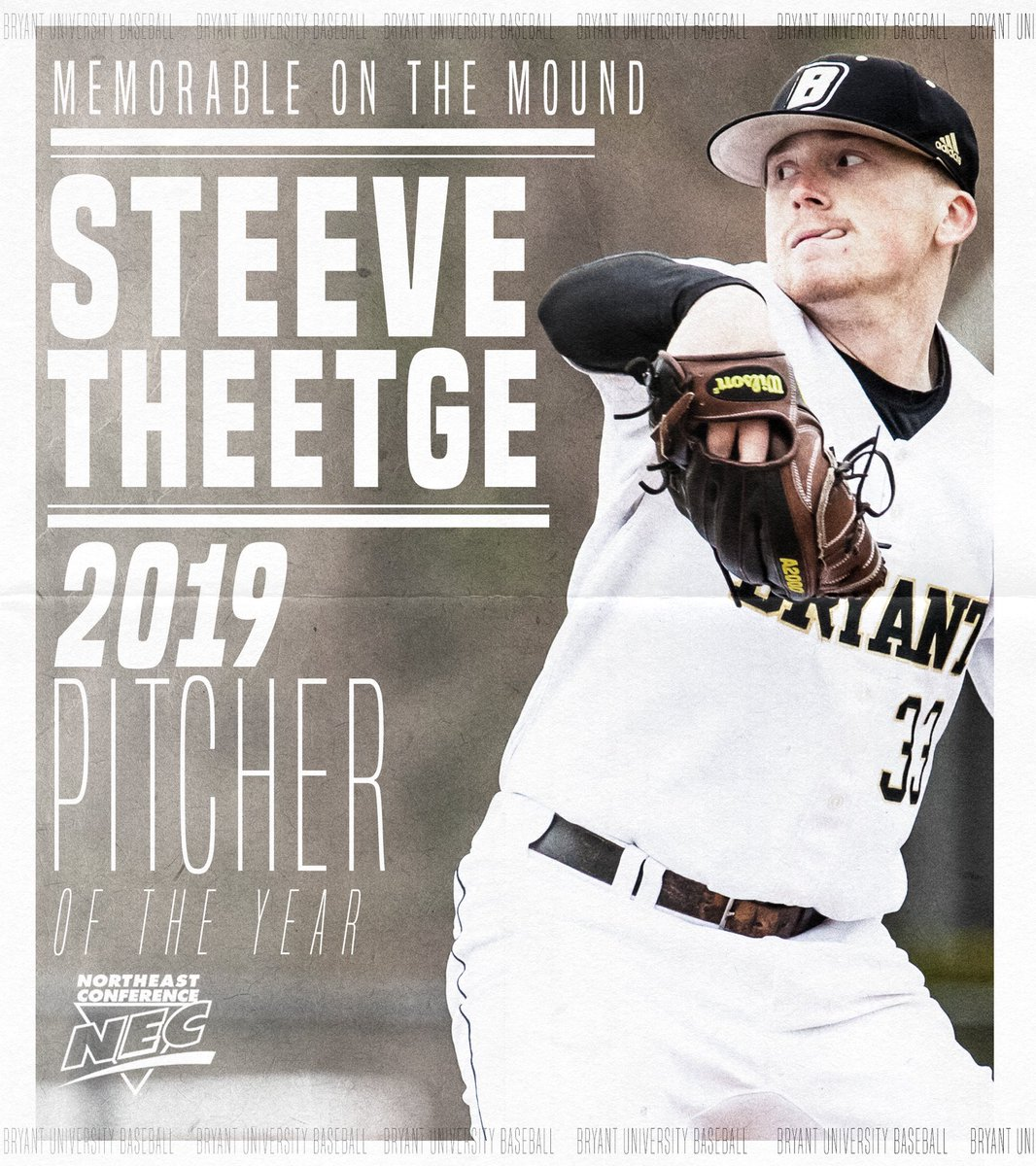 Congrats to @theetge_17 on being named NEC Pitcher of the Year!  He is the first pitcher in NEC history to win the award multiple times (2017, 2019)!   #TCD