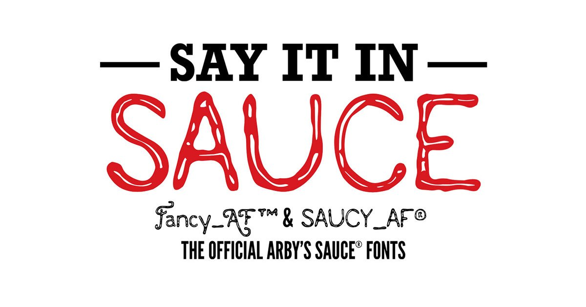 Who knew @Arbys had fonts? Download the fancy and saucy type now. Thanks @MacinTutor for sharing. #fonts #wehavethefonts #typefaces http://bit.ly/2X8ofOI