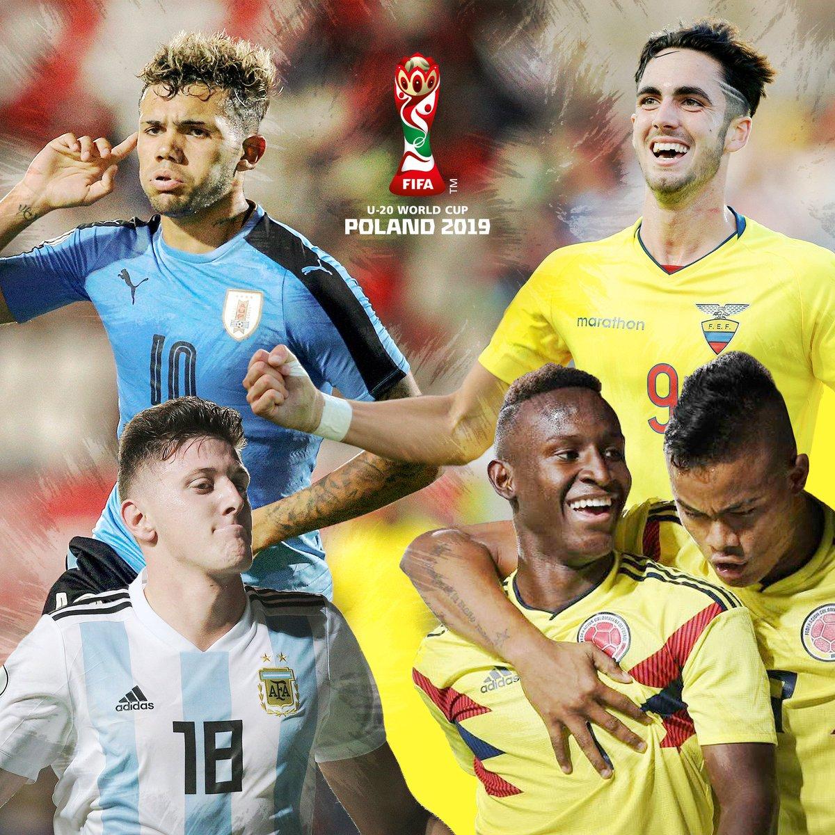 Las nuevas estrellas sudamericanas disputan el #U20WC en busca de la consagración ¡Apóyalos!   🇪🇨🇦🇷🇺🇾🇨🇴