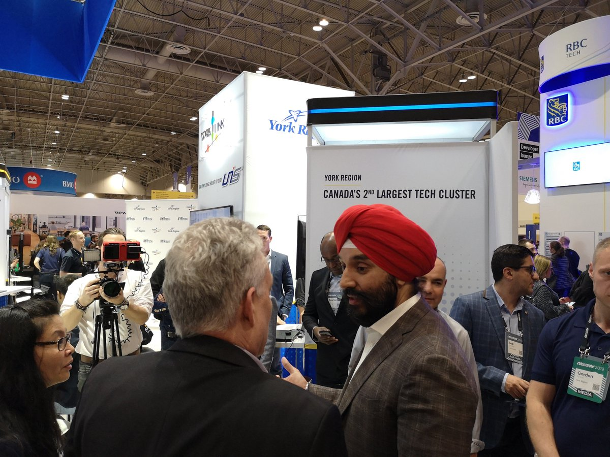 Thank you Minister @NavdeepSBains for visiting us at the #YRtech pavilion at the #CollisionConf to witness our remarkable growth and development