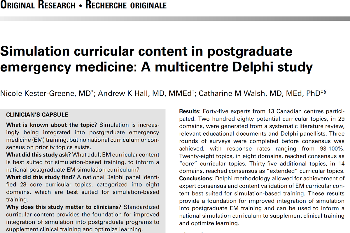 What adult #EmergencyMedicine curricular content is best suited for #simulation-based training?  Find out what Canadian experts think in our @CJEMonline  FirstView paper with @EMeduc and CM Walsh:  https:// doi.org/10.1017/cem.20 19.348 &nbsp; …   Thanks to the Delphi participants from coast to coast!<br>http://pic.twitter.com/ediElpI3FZ