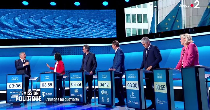 Big French TV debate on #EUelections2019 . Macron sent 67-year old ally Bayrou, who could barely put a word in without being cut off by the others. A performance unlikely to reverse polls showing Le Pen coming first #lemissionpolitique <br>http://pic.twitter.com/RYJWsaXfom
