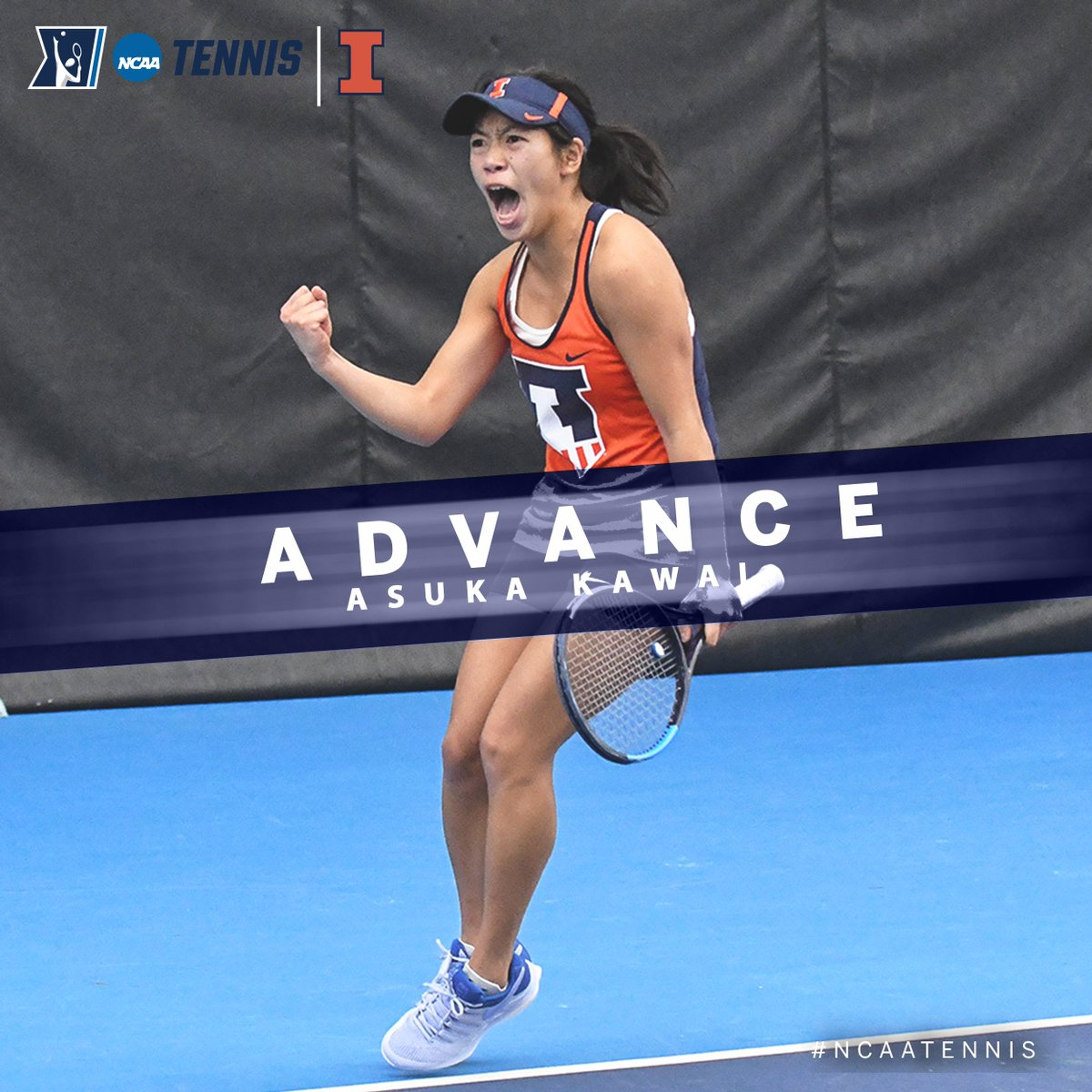 Sophomore Asuka Kawai of @IlliniWTennis advances to the @NCAATennis Singles Quarterfinals after upsetting No. 7 seed Alexa Graham of North Carolina, 7-5, 6-3. #B1GWTennis