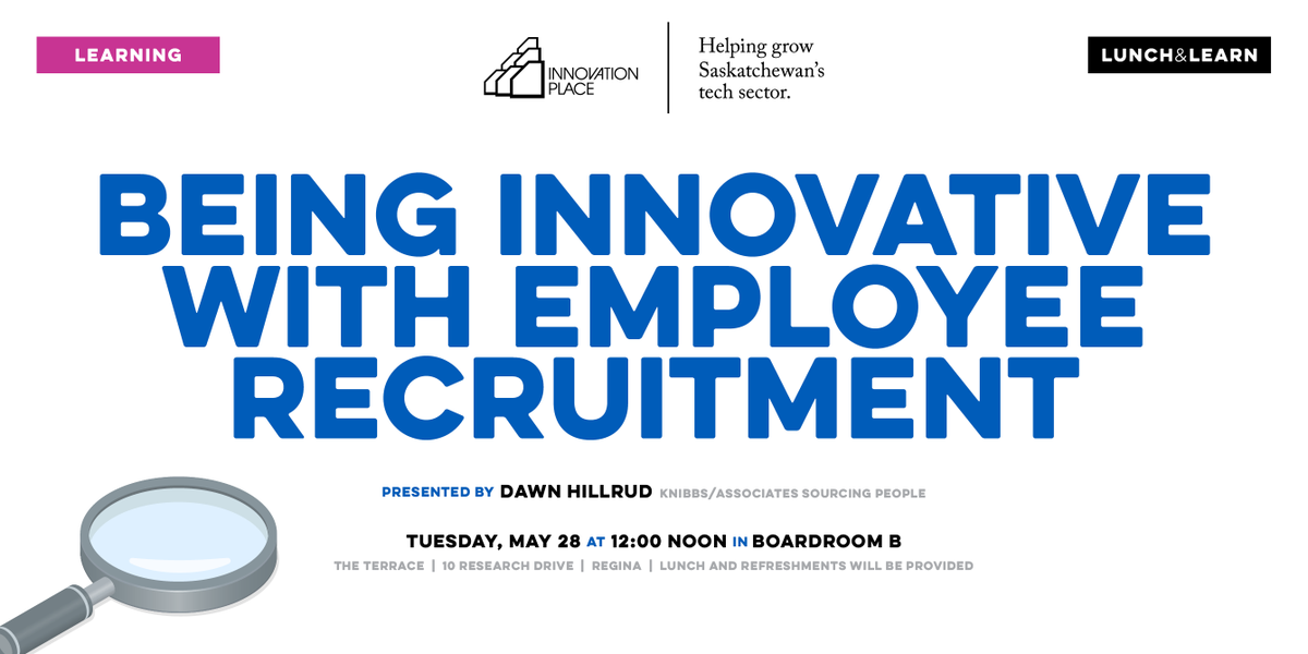 """Recruitment has changed. Gone are the days of """"post and pray"""" and paper resumes. Future-proof your recruitment tactics! Register for our upcoming lunch & learn: http://www.innovationplace.com/events/invite.php?eventID=463…"""