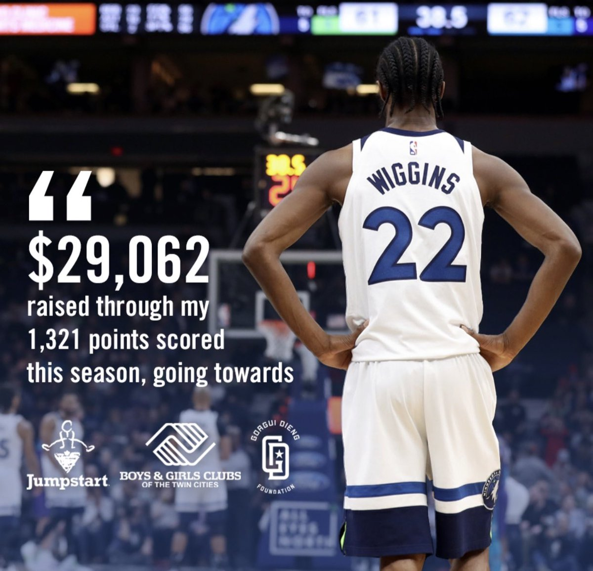 I'm excited to announce that by donating $22 for every point I scored this season, and with 1,321 points, I was able to donate a total of $29,062 to @CTJumpstart , Boys and Girls Club Of The Twin Cities , and @GorguiDieng Foundation!