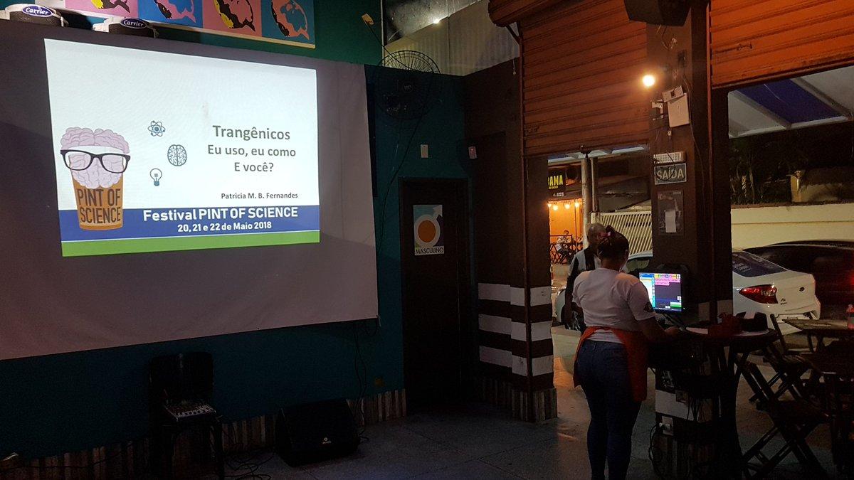 Vai começar a terceira noite do @pintofsciencebr. Aqui no #BarAbertura de Jardim Camburi vamos falar de trangênicos, robôs e robótica.  Só vem!  #pintofscience #pintofsciencebr #pintofscience2019pic.twitter.com/MXo4yxa7Ga