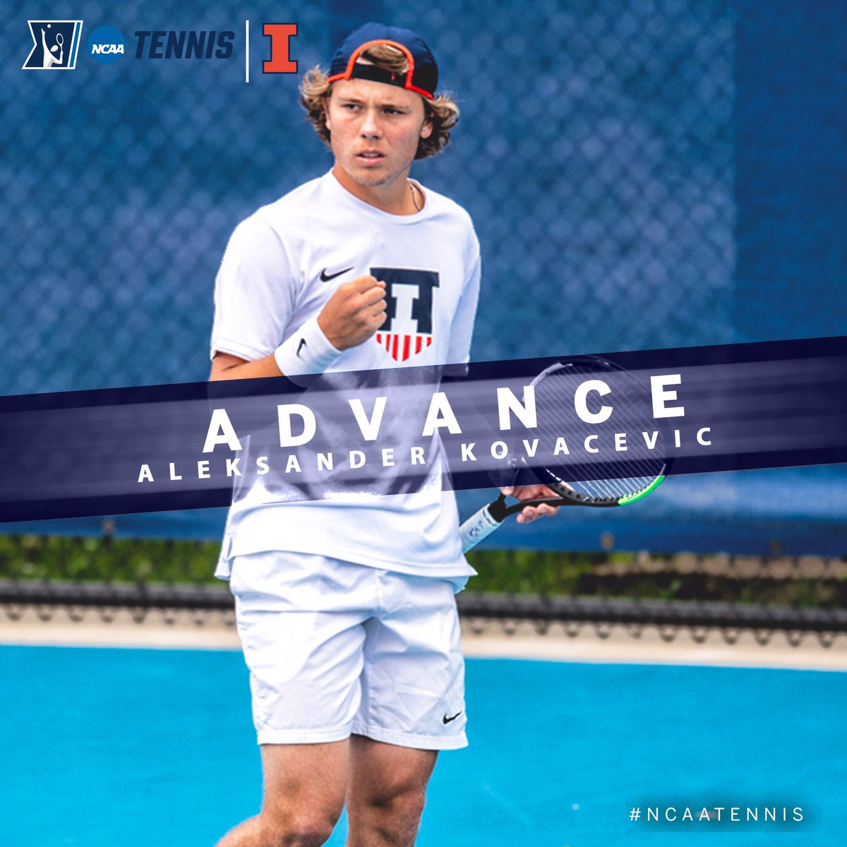 Aleksander Kovacevic of @IlliniMTennis advances to the @NCAATennis Singles Quarterfinals after his opponent withdrew due to injury. #B1GMTennis