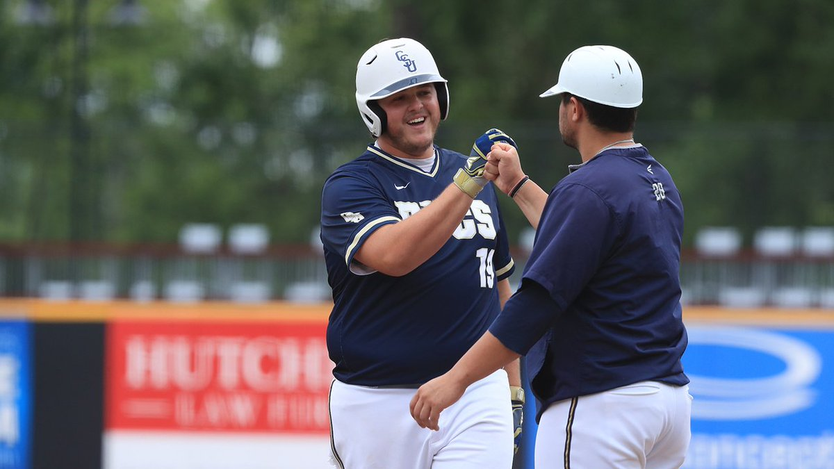 We needed 13 innings, but we found a winner! @CSUBucsBaseball rallied to pull of the first upset of the #BigSouthBase⚾️ Championship with an 8-3 victory over second-seeded Radford.