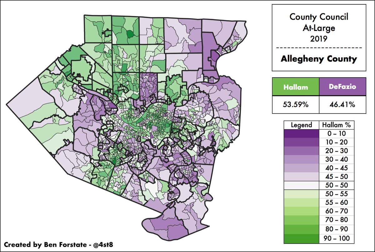 Compare the At-large map to Clinton/DePasquale. Hallam/DeFazio&#39;s race breaks down along somewhat similar lines. DeFazio did better in older PGH neighborhoods and suburbs (W. Mifflin, McKeesport, Plum, Kennedy) while Hallam cleaned up in the City&#39;s E. End, N. Hills/S. Hills. <br>http://pic.twitter.com/IdLMBVBdCI