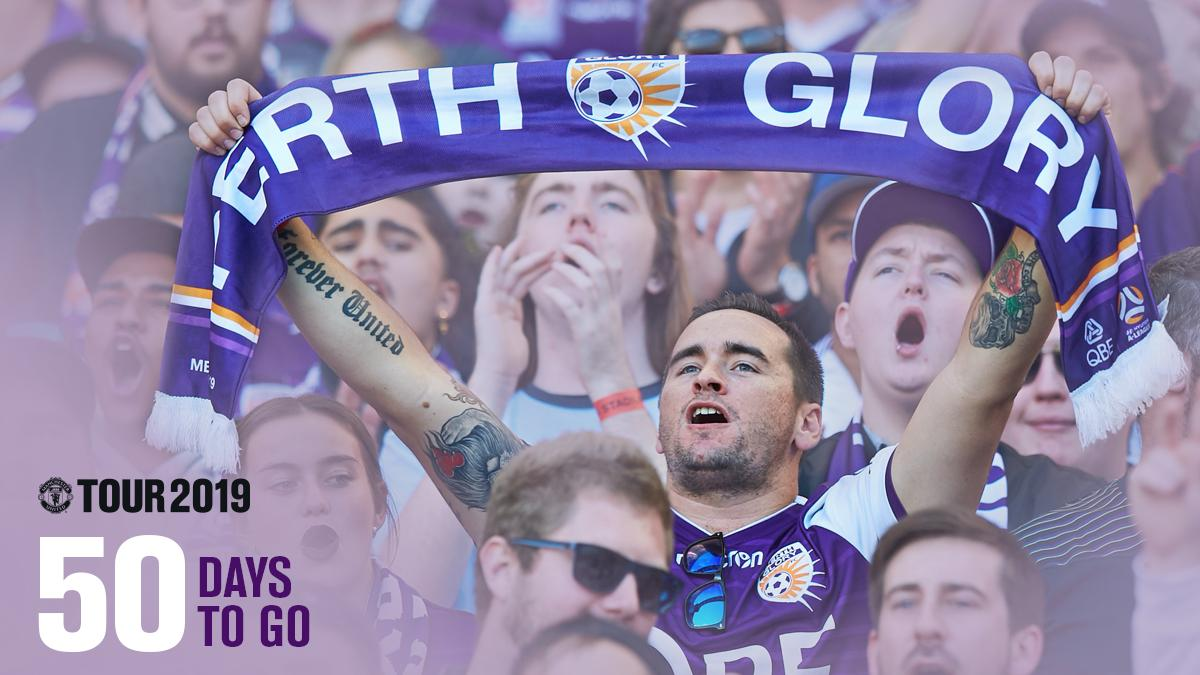 50 days to go until Perth Glory line up again at Optus Stadium when they take on Manchester United ⚽   👀 See the A-League Premier's kick-off the Manchester United Tour on Saturday 13 July #MUFC #OneGlory 🎫 Tickets on sale from $49 for kids 👉 http://bit.ly/ManU19Tour