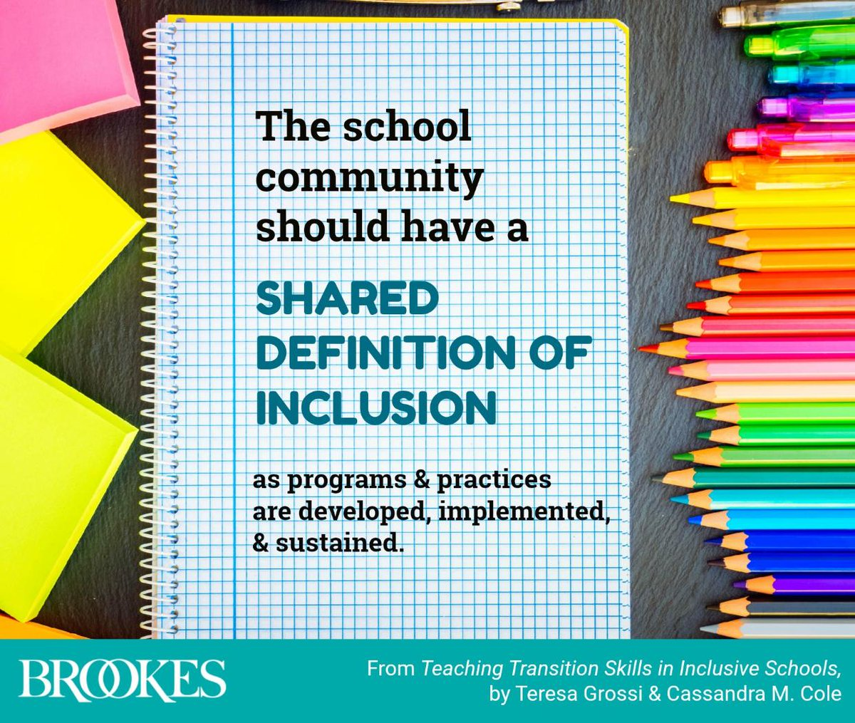 """""""The school community should have a shared definition of #inclusion as programs and practices are developed, implemented, and sustained."""" #quotes #edchat #spedchat #iechat"""
