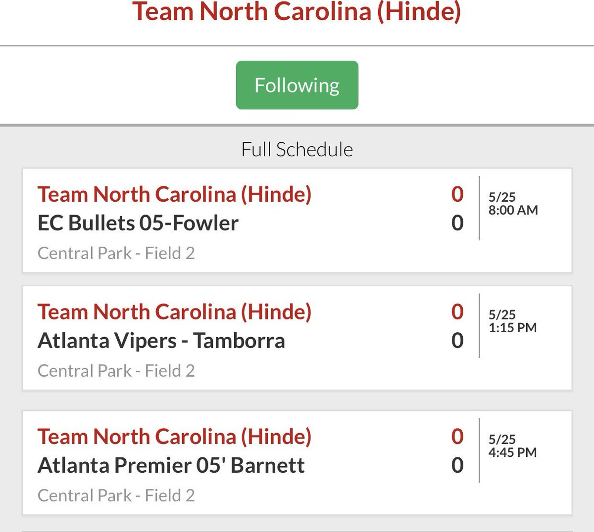 We're headed to Cumming, GA for the Atlanta Fastpitch Memorial Day Classic this weekend! Looking forward to awesome weather and great competition! #TeamNC <br>http://pic.twitter.com/NpwBMpAHxU