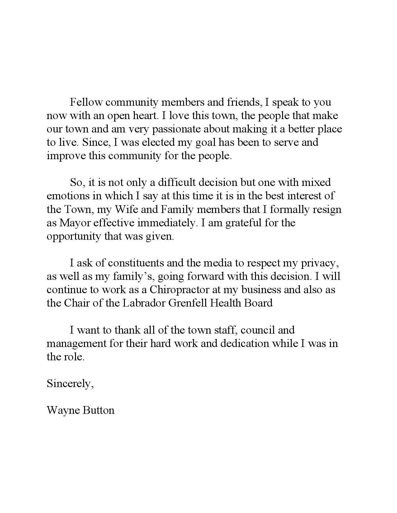 Wayne Button resigned as mayor of Labrador City on Wednesday, May 22 and posted this message on twitter.