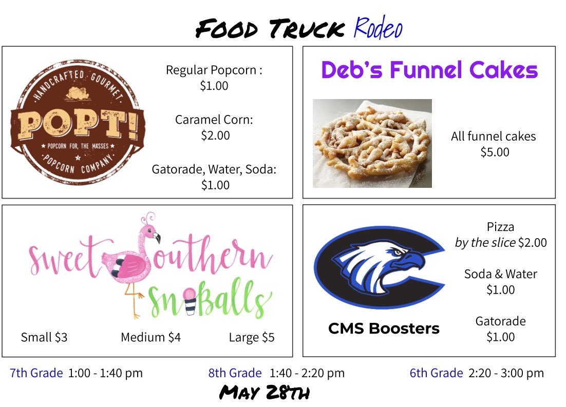 If you were present for End-of-Grade testing, you qualify for the Food Truck Rodeo. Here's what's coming on May 28th! #watchussoar <br>http://pic.twitter.com/JjBWjTmD2z