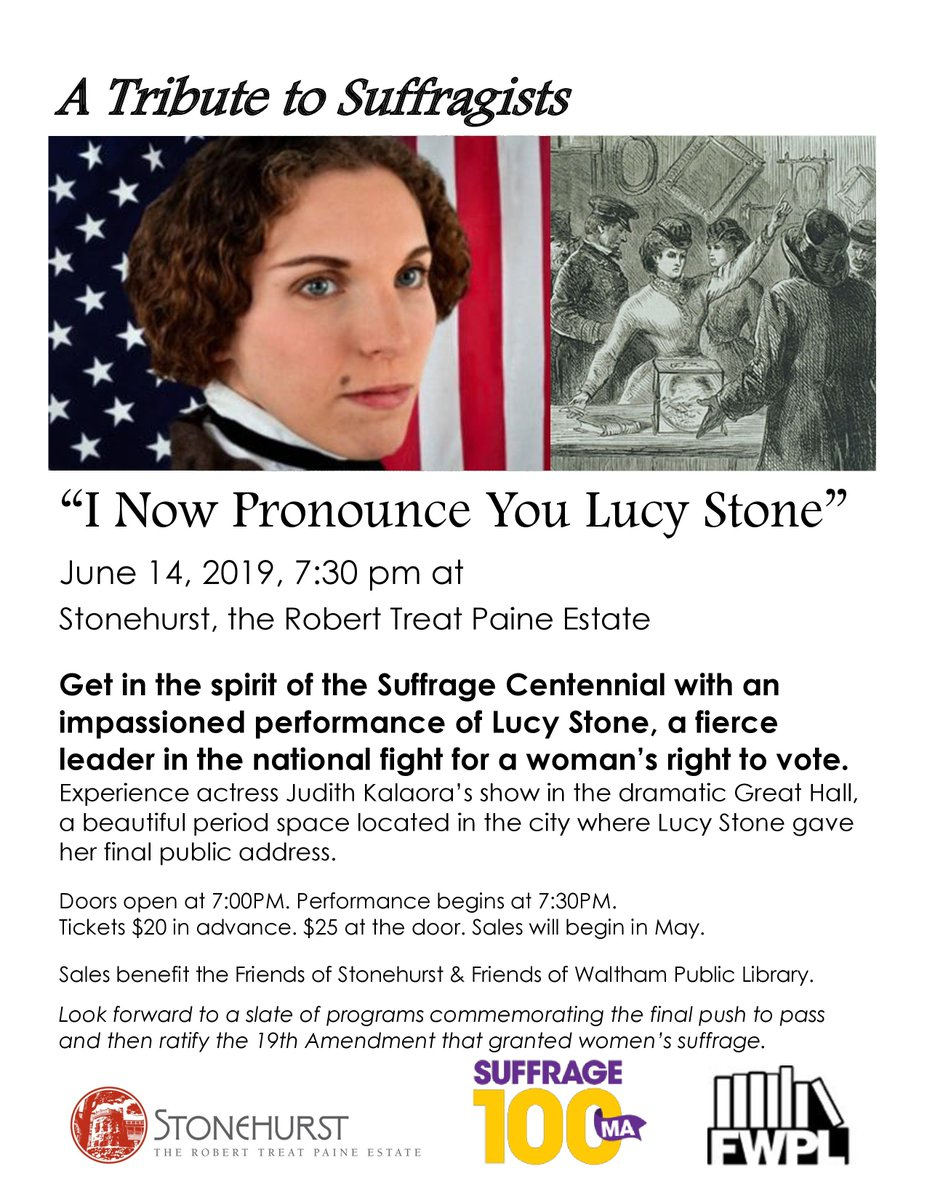 Get in the spirit of the Suffrage Centennial with an impassioned performance of Lucy Stone, a fierce leader in the national fight for a woman's right to vote. Experience Judith Kalaora's show in the city where Lucy Stone gave her final public address.