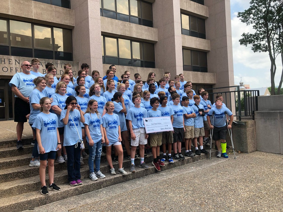 This morning Cmr. Bush met with a group of students from Gunter Middle School that raised money to preserve a map of their home county through the @txglo @savetxhistory program. (1/2)
