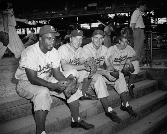 """""""Old Days""""Brooklyn Dodgers infielders,Jackie Robinson,Pee Wee Reese,Gil Hodges and Billy Cox before a 1949 game.#Dodgers #Brooklyn #1940s #MLB<br>http://pic.twitter.com/8lqBSUdcLK"""