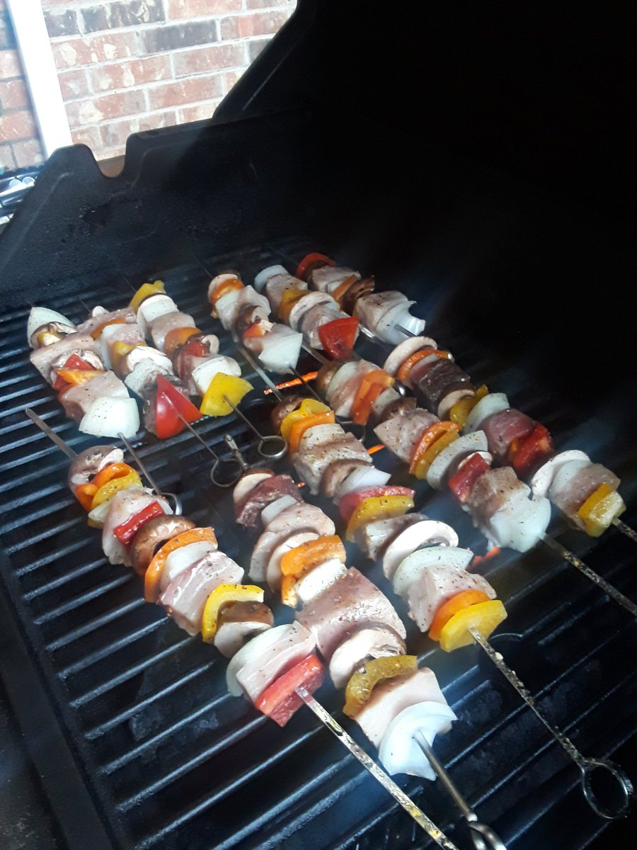 Me and @lilbit19781 just got back from vacation for @ariannaenicole graduation. Had a absolute blast getting away from work for some days. Now we eating fresh seafood we picked up and brought back Swordfish kabobs is first on the list. Also @dylanrhodes283 sucked a bunch of balls