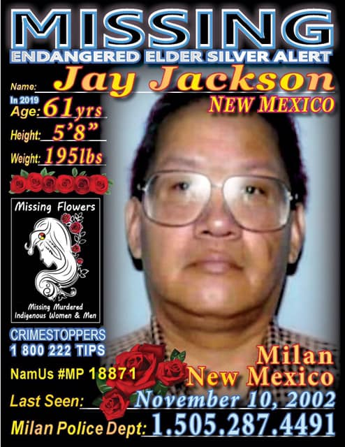 Jay Jackson, missing from #NM is described as 5'8, 195lbs N.A. Male  #NativeTwitter  #MMIWG  #MMIP #MMIW  #MissingFlowersMMIP #BringOurRelativesHome #silentnomore  http://missingflowers.com