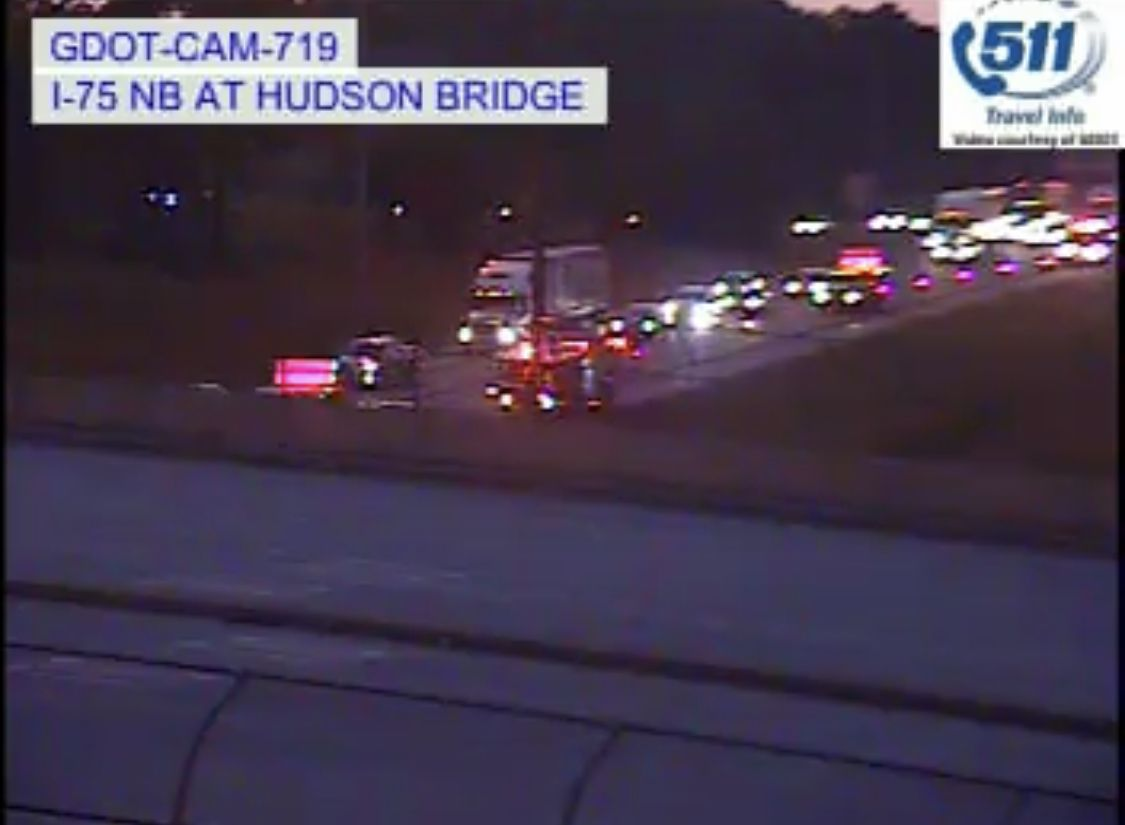 MVC blocking one left lane of three on I-75 southbound at Hudson Bridge Road / mile 224. Estimated time of clearance is 10:30 pm. <br>http://pic.twitter.com/k8oRi7dQgY