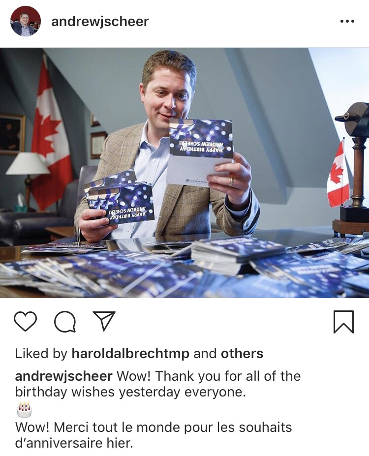 Is this Andrew Scheer opening already open blank birthday cards? He has to fake his own birthday celebration for a picture? Who is he thanking, the printers?   #cdnpoli #cdnmedia  (h/t @RJDavies_ )<br>http://pic.twitter.com/l02kQkd0aJ