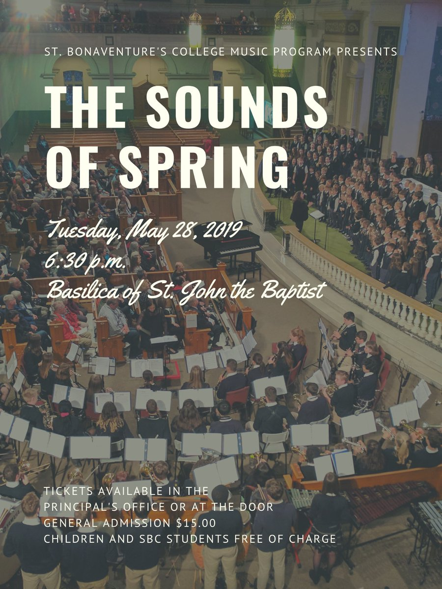 """Make sure to pick up your tickets for the @StBonaventures Music Program """"The Sounds of Spring"""" Concert. Over 275 students will join forces to present Leonard Cohen's """"Hallelujah"""", Michael Jackson's """"We Are the World"""", the African Freedom Song """"Ipharadisi"""" &amp; much more. <br>http://pic.twitter.com/fibbII57vq"""