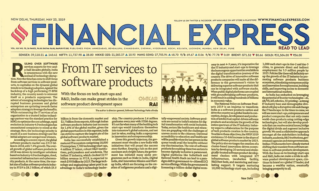 As #emergingtech is driving innovation,Indian #IT industry can rev up focusing on S/W product development to sustain its brand as a global IT leader & become #ProductNation by ensuring inclusive development. Here's my article published on Financial Express:https://www.financialexpress.com/opinion/from-it-services-to-software-products/1586044/ …