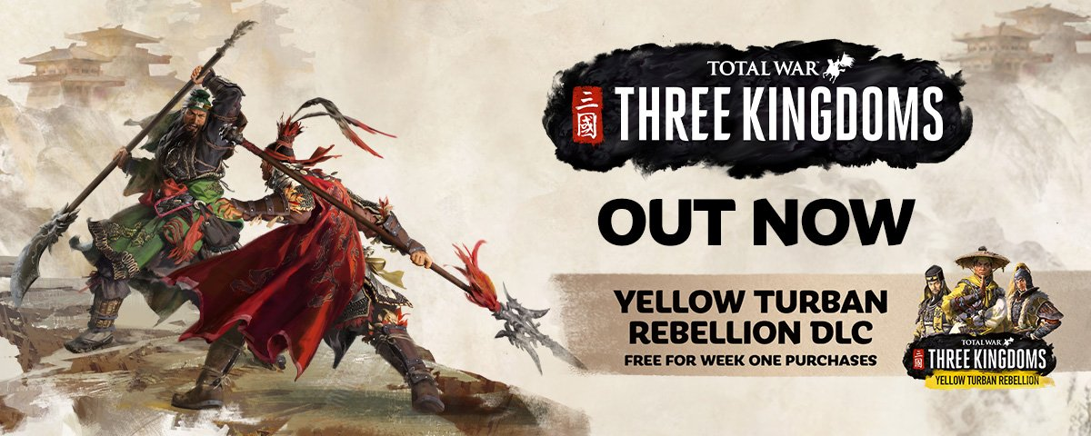 Total War: THREE KINGDOMS is out now!  Welcome to a new era of legendary conquest.  Your legend is yet to be written, but one thing is certain: glorious conquest awaits...