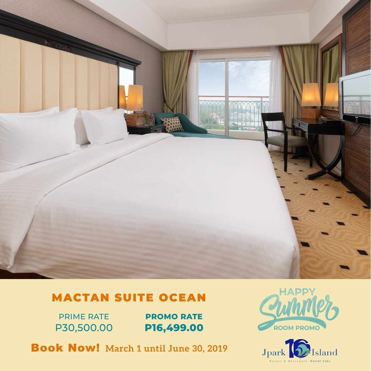 Want to wake up to a lovely view of the ocean? The Mactan Suite Ocean is the right pick! Book it!  Avail our discounted rates by using the promo code SUMMER!  View more details here: https://t.co/atg2VLnEHd  #MyJparkStory #WaterYouWaitingFor  #TenYearsOfJpark https://t.co/QCsGNPag2V