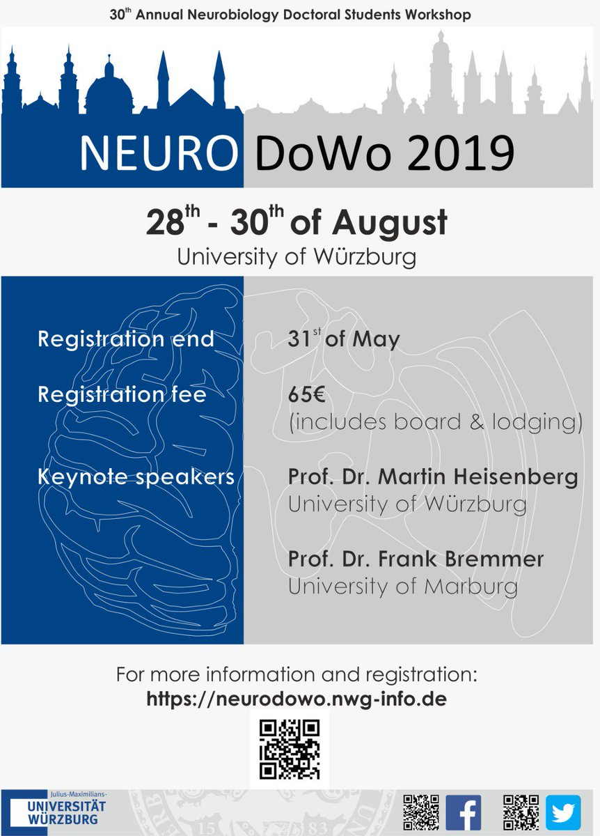 This year we have the great honor to host the 30th #NeuroDoWo at @Uni_WUE  It's an awesome meeting to discuss your research with peers from all areas of #neuroscience , to meet other #PhD students, and to advance your skills  See you there at #NeuroDoWo19  https://neurodowo.nwg-info.de/registration  – at Residenz Würzburg