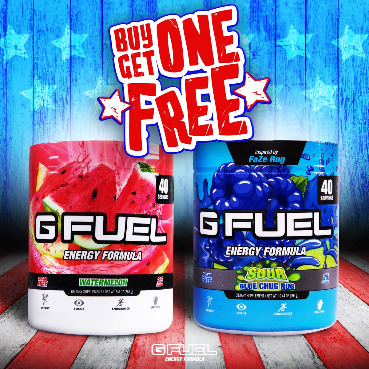 G Fuel On Twitter Icymi Our World Famous Buy 1 Get 1 Free Memorialdayweekend Sale On Gfuel Tubs Is Officially Live Mix Match Flavors Promo Codes Not Valid With