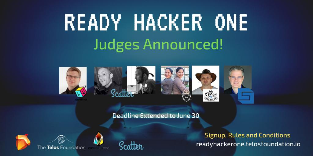 #ReadyHackerOne the 1st @HelloTelos #developer challenge is pleased to announce an all star🌟lineup of judges! @TBCox of @Strongblock_io, Rami+Nathan James of @Get_Scatter, @cybercodetwins, @HappyMoneyMan1, James Davis of @GoodBlockio ! 😱Contest details: https://bit.ly/2K0drPg