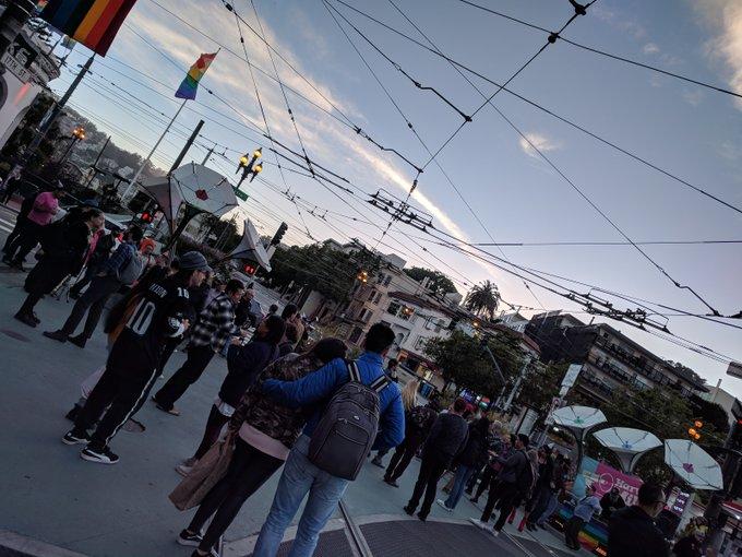 Postcards from San Francisco: Harvey Milk dance party Castro at Market, happy birthday Harvey!