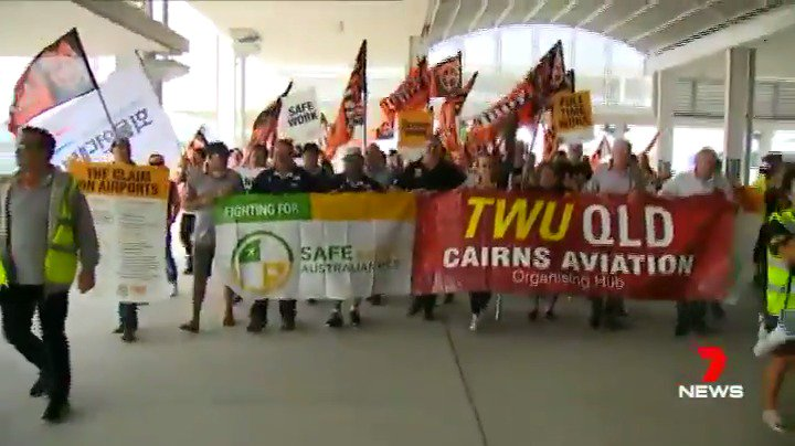 Image for the Tweet beginning: Protesters have marched on @cairns_airport,