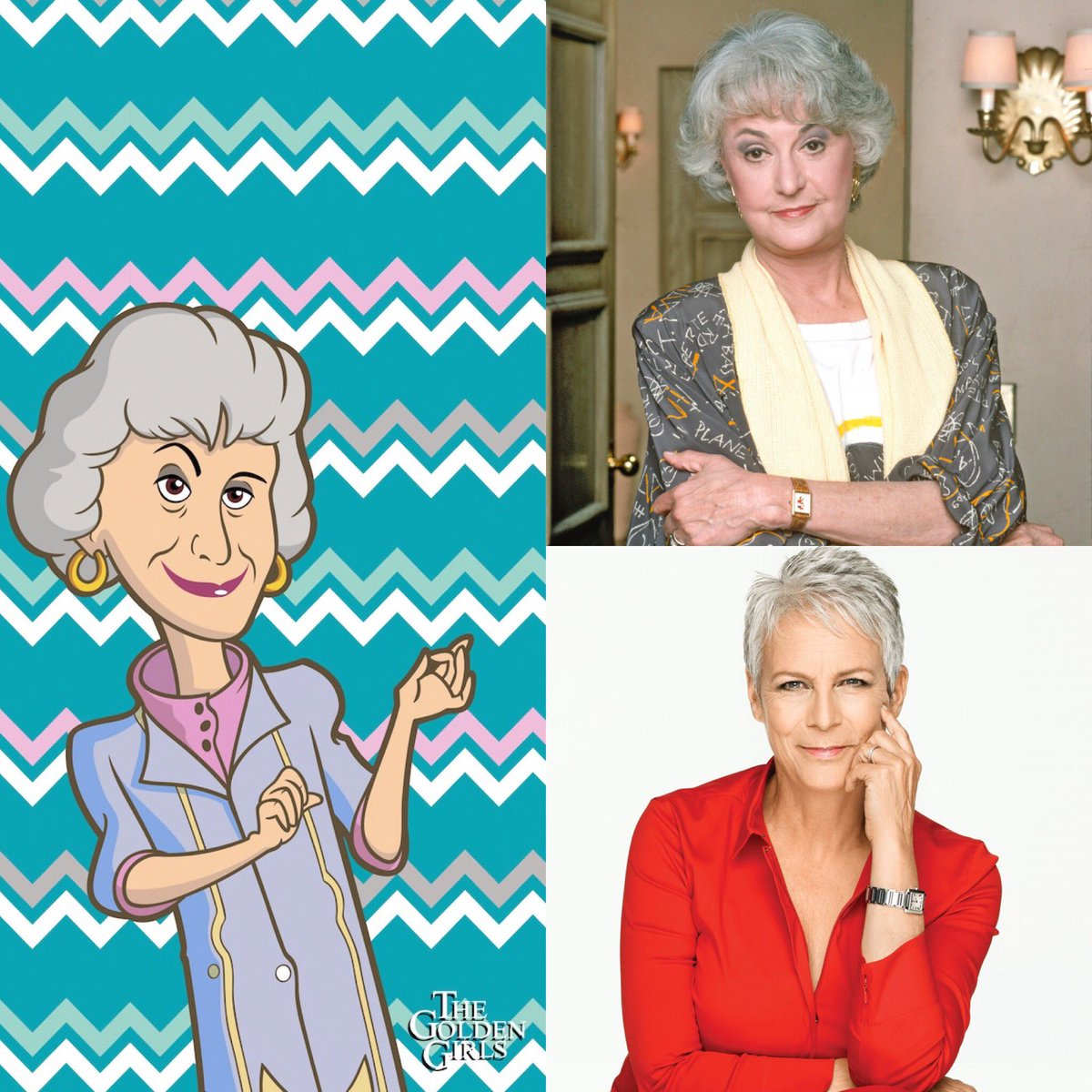I would love for @jimmykimmel to do another special for a classic sitcom, but this time focus on &#39;The Golden Girls&#39;. Here's my wishlist for who I think should be cast as the 4 leads.  @jamieleecurtis as Dorothy Jessica Lange as Blanche Shelley Long as Rose  Glenn Close as Sophia <br>http://pic.twitter.com/yIdRFjCOpc