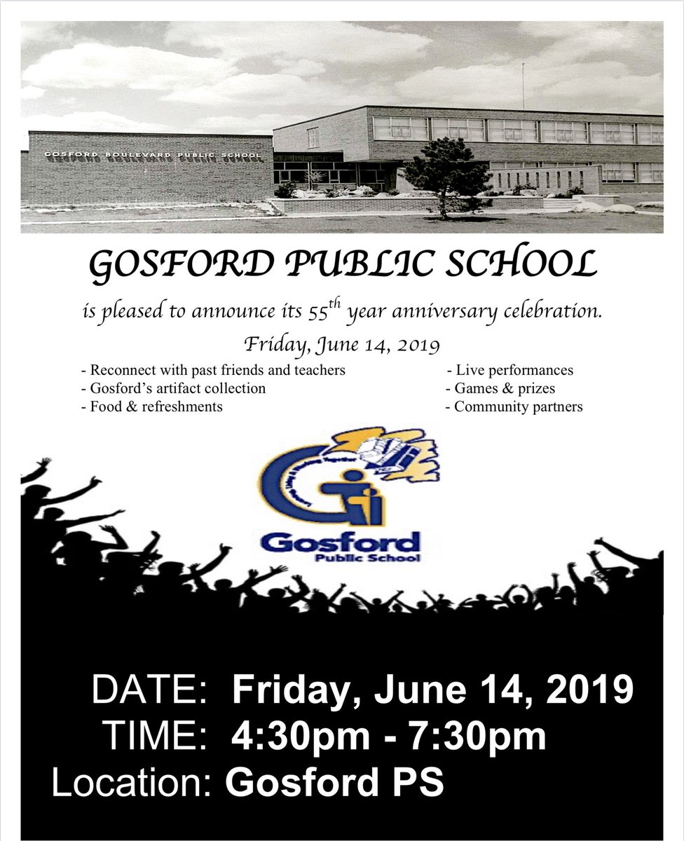 Gosford PS is pleased to announce its 55th year anniversary celebration on FRIDAY, JUNE 14TH,2019 Come and reconnect with past teachers and friends, live performance and Gosford's artifacts collection @jenniferhall62 @funwow106 @shikha_nalin @lstrangway @LC2_TDSB @EducatorBaker