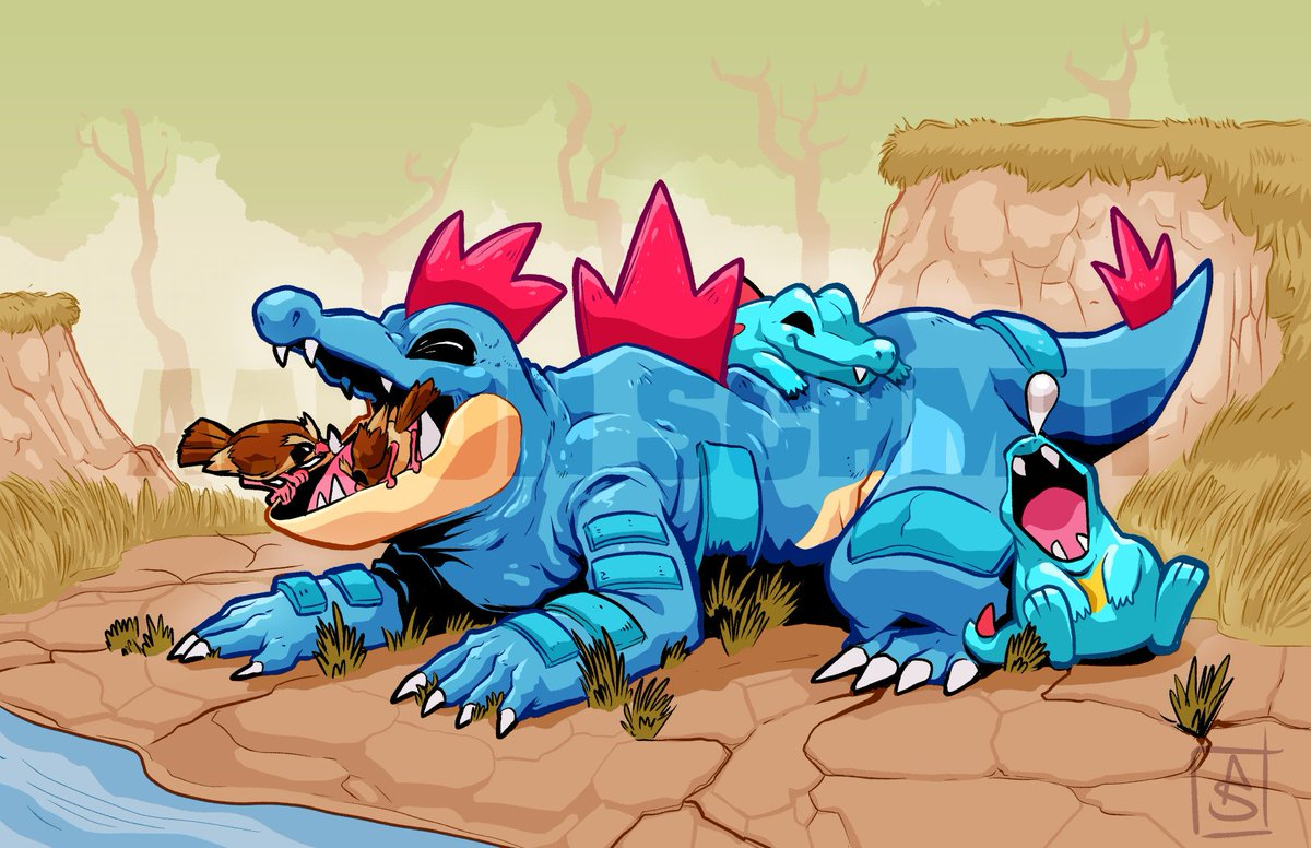 And finished my Feraligatr piece! Scaly boys chilling while birbs clean their chomp-chomps.  #Pokemon #fanart   Support me on Patreon:  https:// patreon.com/theaaronschmit  &nbsp;  <br>http://pic.twitter.com/Bhegf6UakL
