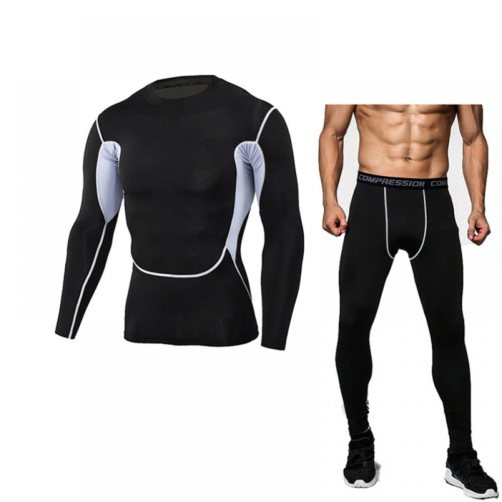 #swimming #yoga Men's Bodybuilding Compression Tights & Shirt With Long Sleeves