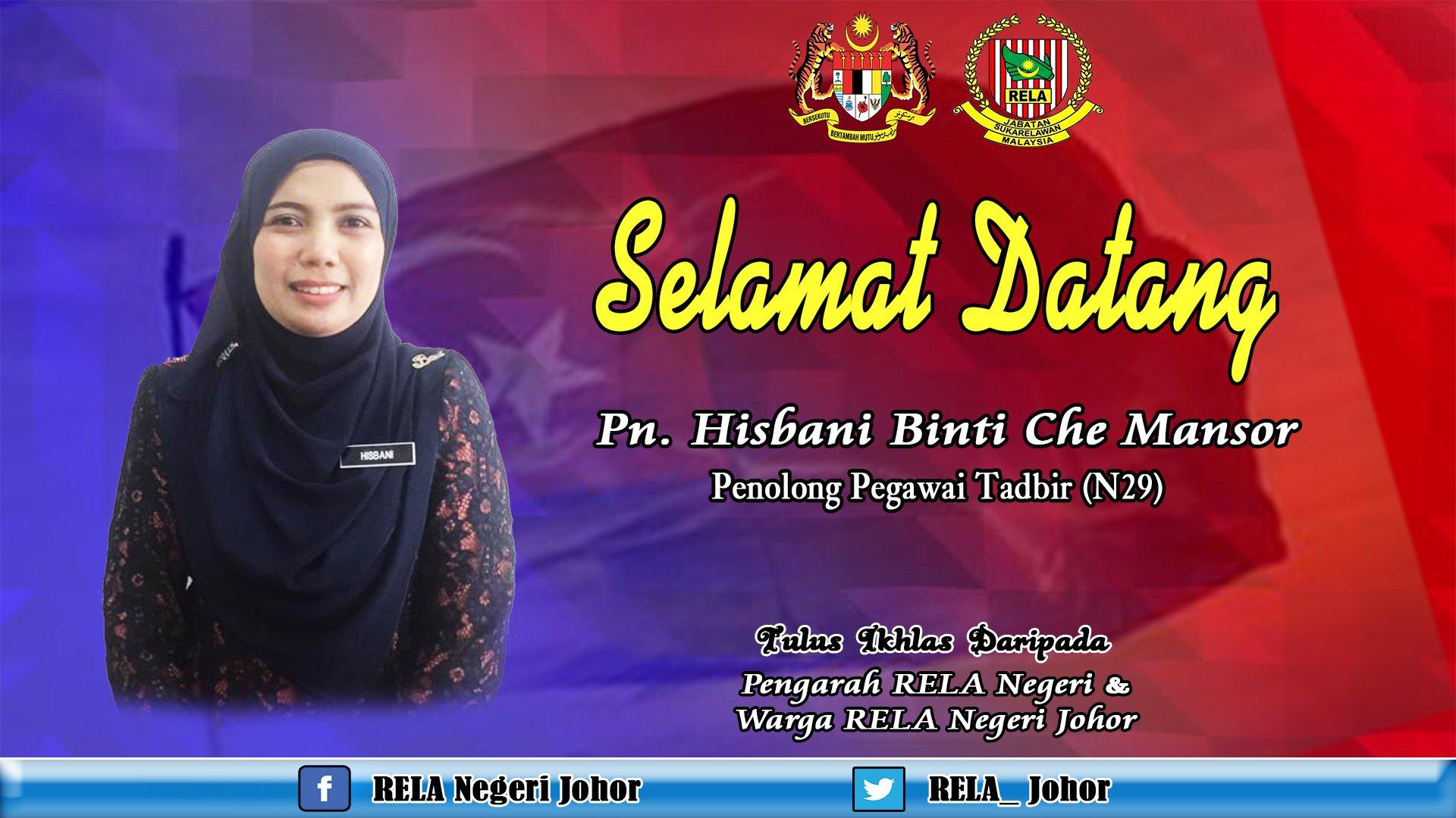 Rela Negeri Johor בטוויטר Selamat Datang Diucapkan Kepada Puan Hisbani Ke Rela Johor Sebagai Penolong Pegawai Tadbir N29 Yang Baru Selamat Menjalankan Tugas Di Pejabat Rela Negeri Johor Zulkifliabidin Roslannong Kamarudin Rapig Msrz81